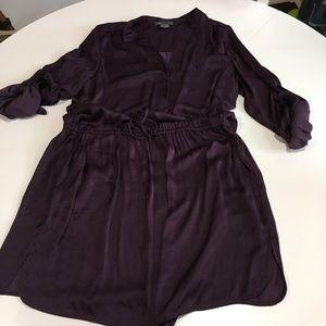 Vince Silk Shirt Dress. Plum Color